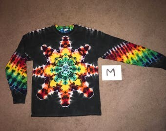 Tie Dye T-Shirt ~ Fire Mandala With Black Background ~ i_7851 in Long Sleeve Adult Medium