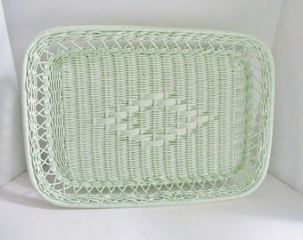 Vintage Tray Basket Wicker Rectangular Upcycled Seaside Green