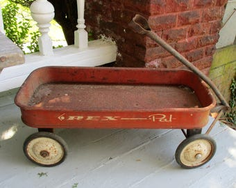 Vintage Rex Pal Wagon Red Metal Rusty Child's Pull Wagon
