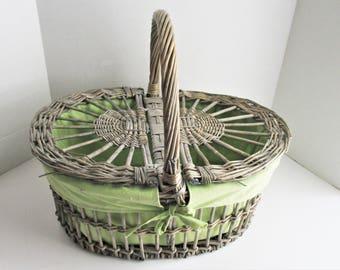 Vintage Picnic Basket Large Gray Wicker Double Flip Top Woven Basket