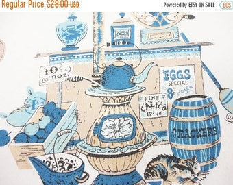 CLEARANCE SALE - Cotton Mercantile General Store Tablecloth  Blues and Beige