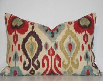 IKAT - Decorative Pillow Cover - Throw pillow, Red, Aqua-Teal Brown gold linen Accent pillow, Django Cushion cover
