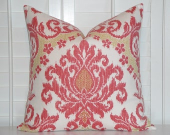 IKAT Decorative Pillow Cover - Accent Pillow - Coral and Gold - Sofa Pillow - Chair Pillow - Cushion Cover