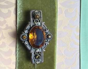 Gorgeous Antique Turn of the Century Topaz colored Filigree Brooch c 1900