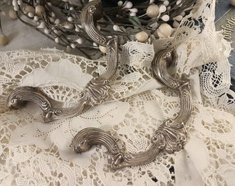 Vintage Silver Metal Tray Handles Replacement Altered Art Fairy Garden (1 pair)
