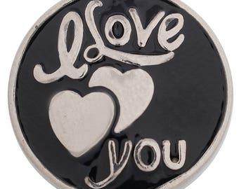 1 PC - 18MM Love You Black Enamel Candy Snap Charm Silver KC6105 CC3448
