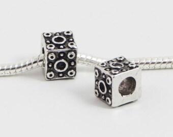 3 Beads - Cube Square Circle Silver European Bead Charm E0180