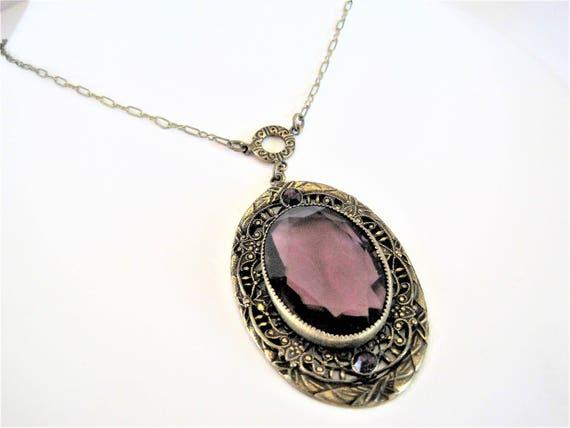 Amethyst Pendant Necklace - Victorian Revival - Statement Necklace  - 60's Amethyst Glass Cabachon Center - Vintage Pendant