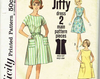 60s Jiffy A-Line Dress Pattern Simplicity 4977. Easy Scoop Neck Dress with Flared Skirt, Pockets, Kimono Sleeves. Size Lg 18-20 Bust 38-40