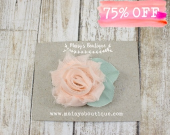 Blush Pink Flower Hair Clip / Baby Headband/ Flower Girl Headband/ Clearance/ Vintage Style/ Shabby Chic/ Elegant Baby