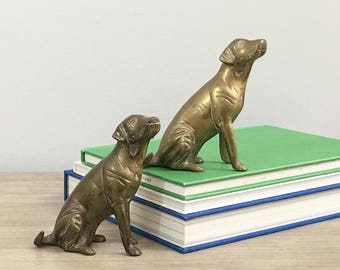 Vintage Brass Dog Figurine Statue Pair Set Labrador Labs Preppy Hamptons Decor