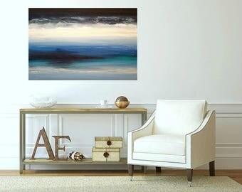 "Art, Seascape Painting, Original Abstract, Acrylic Paintings on Canvas by Ora Birenbaum Titled: Midnight Blue 6 24x36x1.5"""