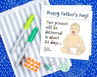 Father's Day Card from the Bump, Personalised Funny Expecting Father's Day Card, Card from the baby bump, Card for Dad to be