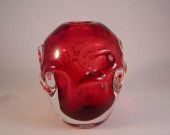 Vintage Red Art Glass Paperweight Vase Unmarked 4 Inches Tall