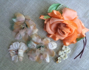 Millinery Flowers Set of Five Shabby Vintage 1950s Fall Color