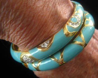 JOAN RIVERS Pick 1 Turquoise Enamel & Gold Hinged Bangle Bracelet.  1 Has Rhinestones in Top Design;  Other has Gold Design All Around
