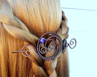 Celtic Shawl pin, Copper sweater pin or scarf pin in swirly design with purple cz, copper brooch hair pin hair slide