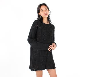 90s Cotton & Ramie Knit Black Slouchy / Oversized Sweater Long Sleeve Mini Dress w/ Scalloped Trim