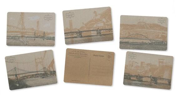 ON SALE!! - Portland, Oregon Bridge Postcard Series - Set of 5 Cards