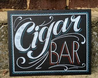 "Cigar Bar Sign - 8""x10"" hand lettered wedding sign - smudge resistant medium on heavy illustration board - custom options - cigar sign"