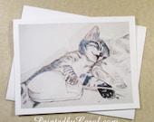 Cat Card, Cat Greeting Card, Cat Note Card, Card with Cat, Kitten Card, Kitten Greeting Card, Kitten Note Card, Card with Kitten