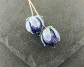 2 purple and lavender headpins   Handmade lampwork glass   earring pair.