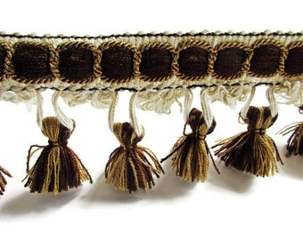 German Vintage Retro White and Brown Rustic Fabric Border Trim Ornamental Trimmings with Pom Poms  for Lampshades Curtains, Supply