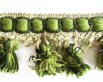 German Vintage Retro Beige and Green Rustic Fabric Border Trim Ornamental Trimmings with Pom Poms, SOLD PER YARD, Sewing Craftin supply