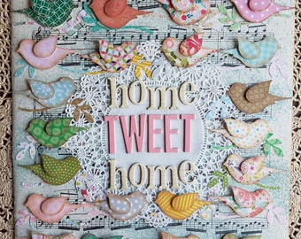Home Tweet Home Mixed Media Paper Collage with Birds, Pastel Pink, Blue, Aqua & Green