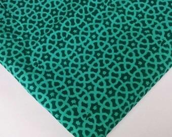 Green Moroccan Print Cambric Cotton - Hand Block Printed Indian Cotton Fabric - Dress Fabric-Printed Dress Cotton Fabric by Yard