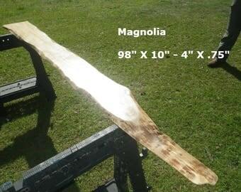 FINISHED Magnolia Live Edge Shelf, Tree Slice Slab Ready For Use, Natural Edge Shelving, Wooden Book Shelf, Artistic Bar Top 9033