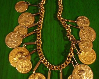 Vintage Boho 1990s Gold Charm Coin Necklace