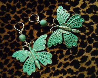 Vintage Recharged Handmade Turquoise Butterfly Earrings