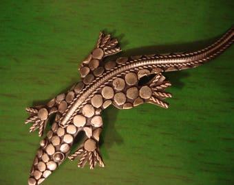 Vintage 1990s Silver Lizard Pendant