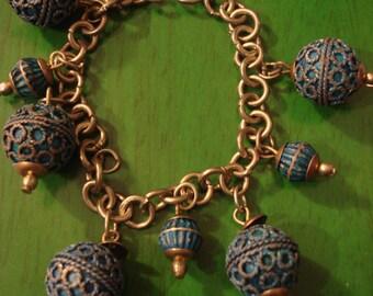 RESERVED Angie Vintage 1970s Blue Boho Charm Bracelet