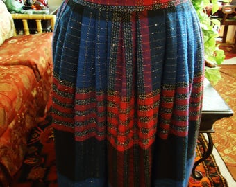 Vintage 1960's Navy Red and Black Wool Skirt