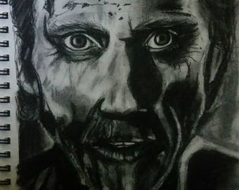 8x10 Doomhead original charcoal drawing