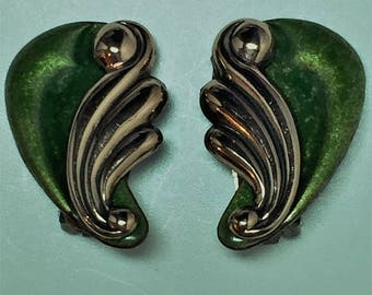 15% OFF SALE MATISSE Green and Copper Earrings   Item: 17431