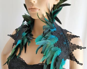 Feather Lace Collar Shoulder Piece Turquoise/Teal Black Gothic Burlesque Bohemian Halloween