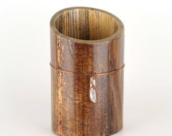 Bamboo Paint Brush Holder Bamboo Vase Quartz Crystal Wire Wrap Copper Brush Pot Wabi Sabi Desk Caddy Eco Friendly Artist Gift
