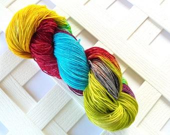 Indie-Dyed Sparkly Sock Yarn, SCANDINAVIA, Hand-Painted Merino Yarn, Sparkly Handdyed Yarn, Superwash Sock Yarn, Indie-Dyed Sock Yarn, Knit