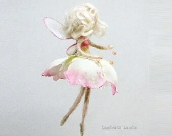 Flower felted fairy doll Waldolf inspired wool felted art doll