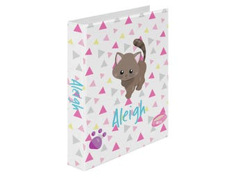 Personalized Binder - Cat Kitten Pink Grey Yellow Triangles Paw Prints, Customized Pocket Binder 3 Ring Binder 2 Inch Spine Back to School