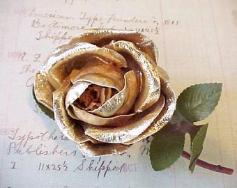Unusual and Pretty Vintage Metallic Gold Millinery Rose