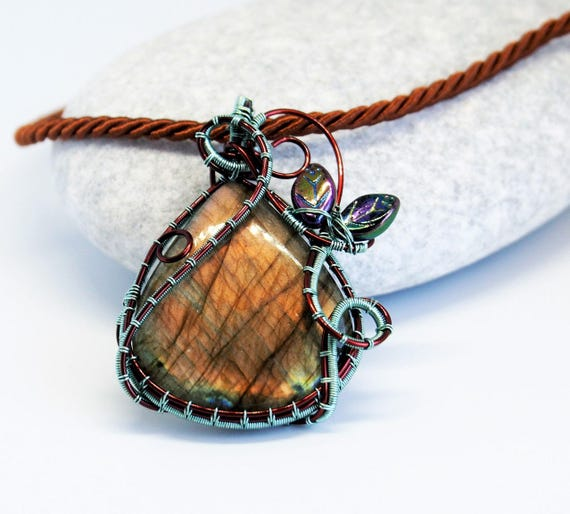 Labradorite pendant wire wrapped gemstone Nature jewelry Flashy copper Anniversary gift for her girlfriend Christmas gift Leaves Forest ooak