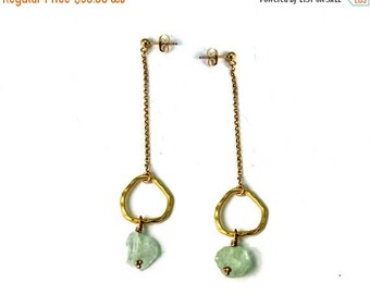 20% off. Raw Aquamarine Earrings. Long Post Earrings. Hoop and Chain Earrings. Rough Gemstone Studs. In Gold or Silver. E-2411