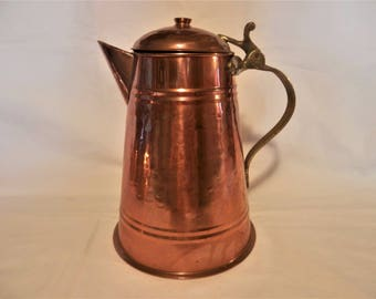 Hammered Copper Coffee Pot with Brass Handle Vintage