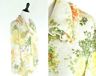 SUMMER SALE Vintage 1970's Orange Floral Blouse - Semi Sheer Breezy Summer Blouse - 70's Floral Top - Ladies Size Large