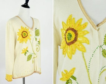 SUMMER SALE Vintage 1980's Cream Sunflower Cardigan - Long Sleeve Button up Sweater- Beaded  Sunflower Sweater - Ladies Size Small