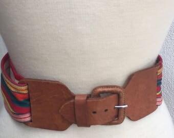 "Vintage boho waist stripe fabric  belt leather buckle fits 27""-32"""